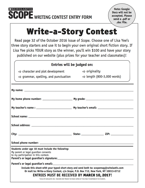 Enter Now: Scholastic Write a Story Contest! - NMS ENGLISH DEPARTMENT